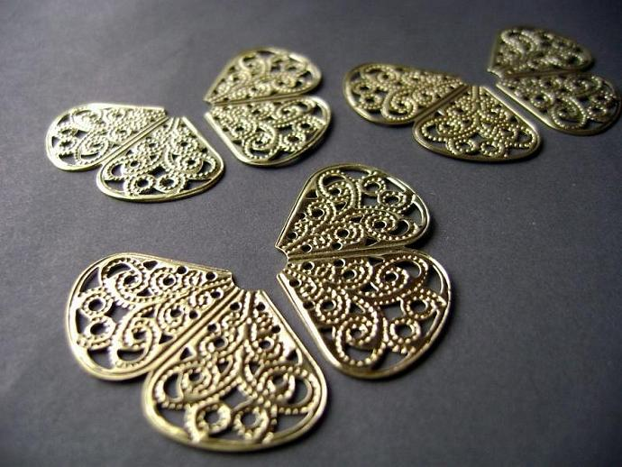 3 Pair (6) Filigree Wings Gold Plated