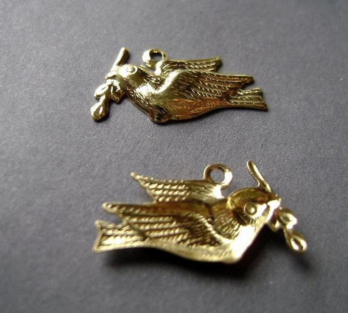 24 Gold Plated Dove Drops Charms