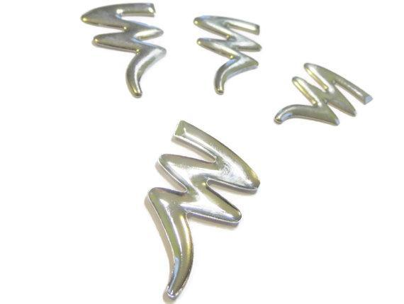 Silver Lightning Bolt Cabachon Findings Jewelry and Scrapbooking