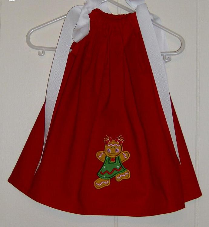 Dancing Gingerbread Girl Applique Boutique Christmas Pillowcase Dress/Available