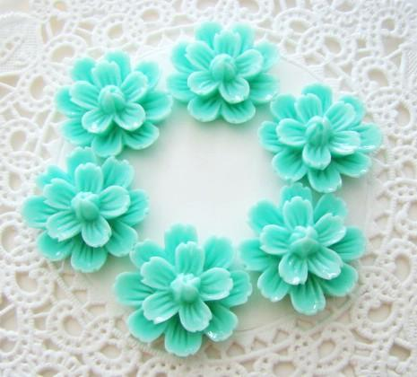 Aqua Blue Delicate Resin Flower Cabochons 20mm Embellishments - 6