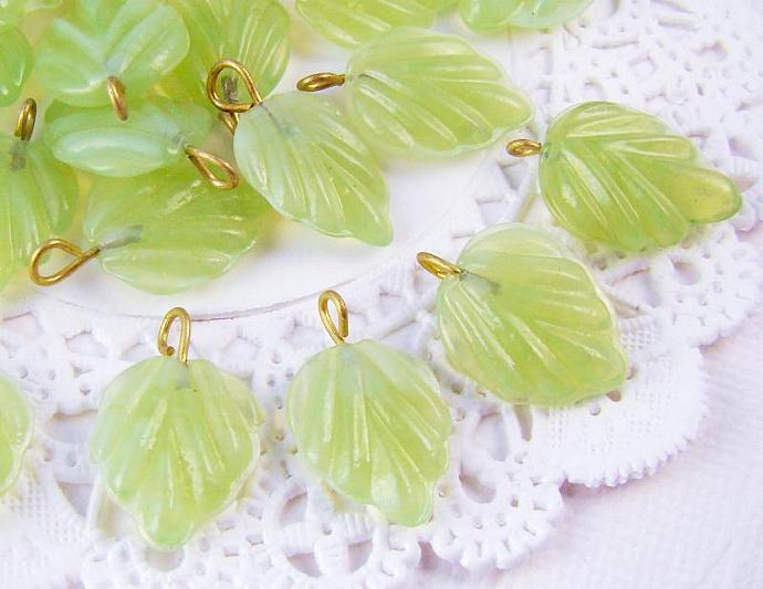 Pale Green Opaque Glass Leaf  Bead Charms 1 Ring Brass Loop Drops 17x13mm - 6