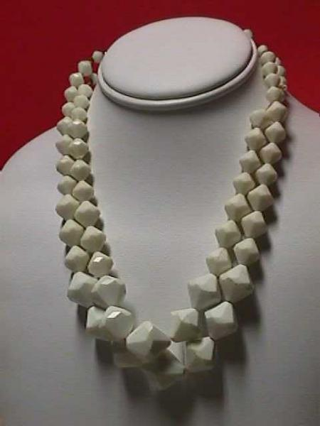Vintage - White Carved Faceted Bead Necklace 1950s
