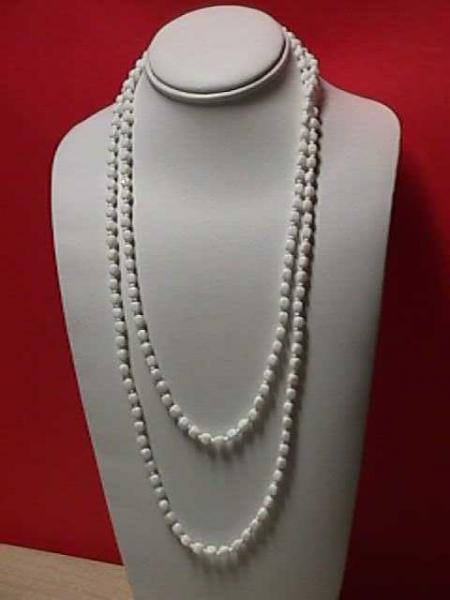 Vintage - Fancy White Bead Necklace 1970