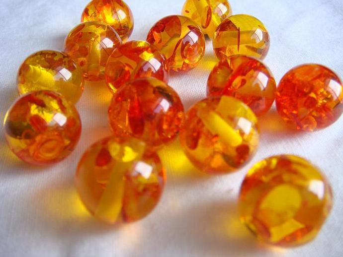 Round Amber Resin Beads