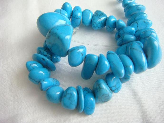 Resin Turquoise Chip Beads