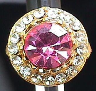 Vintage - Beautiful Cocktail Ring Amethyst and Rhinestones
