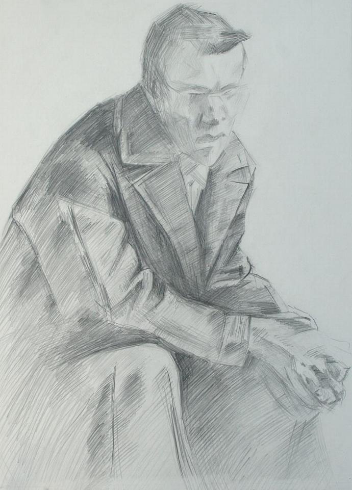 Man. Pencil Drawing. Charcoal drawing. Original.