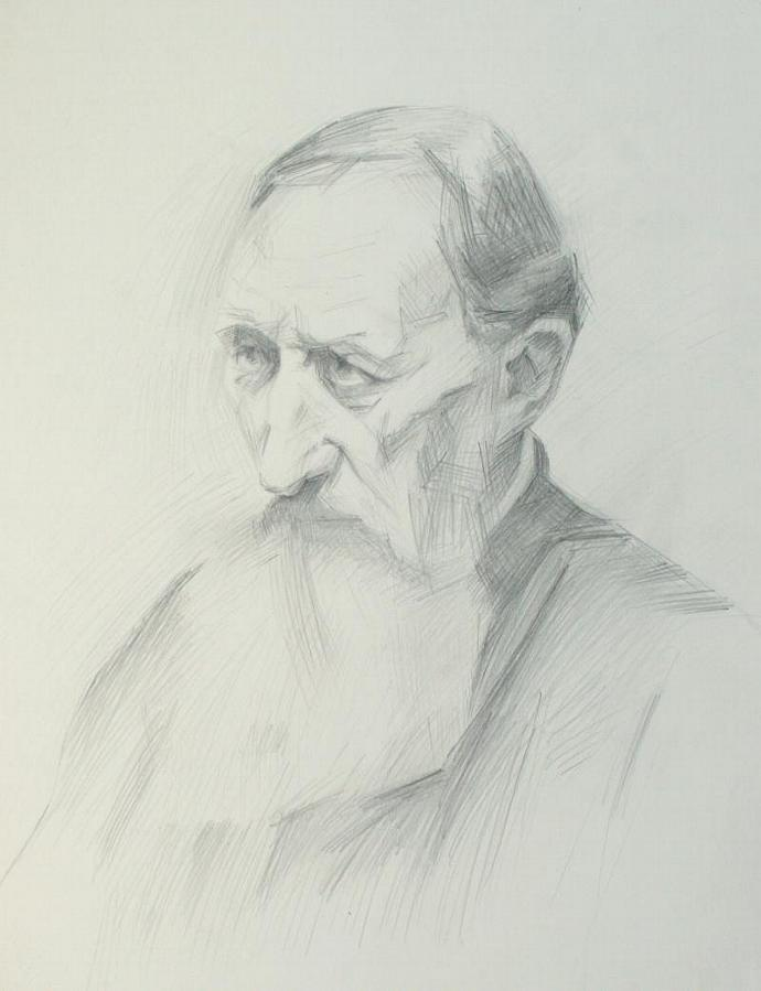 Old man with a beard. Portrait. Pencil Drawing. Original.