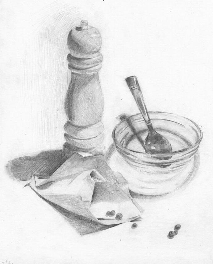 Still life. Pepper Grinder. Pepper. Bowl. Glass. Pencil Drawing. Original.