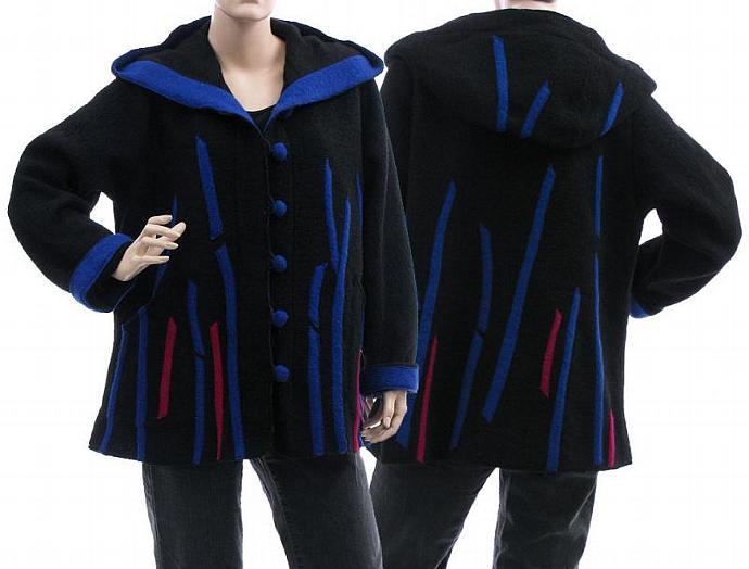 Handmade artsy boho hooded jacket, coat, boiled wool, black / lagenlook for plus