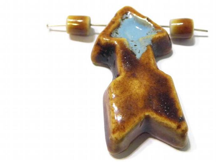 Ceramic Arrow Pendant Brown and Light Blue Clay Pendant