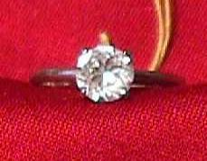 Vintage - CZ Solitaire Ring Silver Plated 1980s