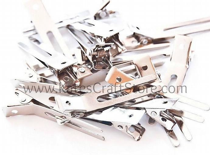 50 DOUBLE PRONG ALLIGATOR CLIPS 4 HAIRBOWS KORKERS --- ZIBBET