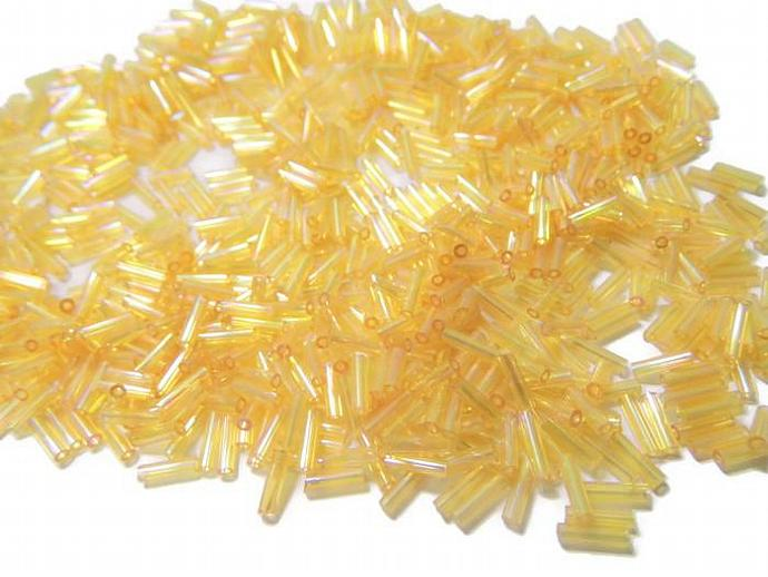 Golden Glass Bugle Beads