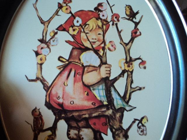 serving tray with girl in apple tree vintage hummel