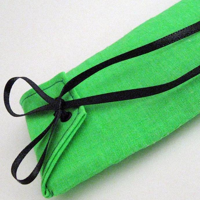 Electric Green and Black Reusable Fabric Gift Card Holder