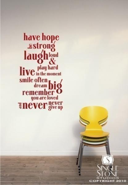 Wall Decal Quote Have Hope Quote - Vinyl Wall Text Sticker Art