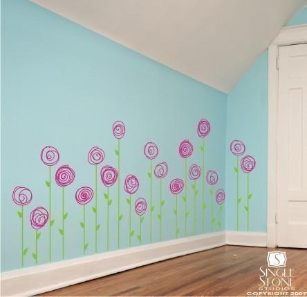 Wall Decals Doodle Flower Garden (Set of 10) - Vinyl Wall Stickers Art