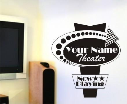 Movie Sign Wall Decal Personalized Vertical - Vinyl Wall Stickers Art Graphics