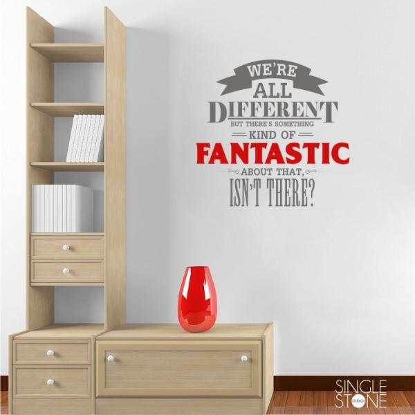 We're All Different - Fantastic Mr. Fox Wall Decal Quote - Vinyl Word Art