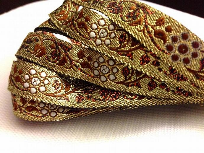 9 yards Gold metallic Jacquard Ribbon Trim  Holiday  -  J-03