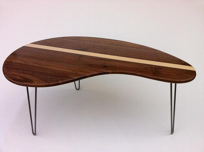 kidney bean table guided reading mid century modern coffee table solid walnut with maple inlay kidney bean studio1212