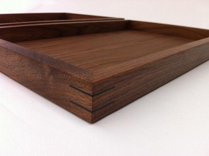 Modern Walnut Display Box Ottoman Trays   Large Zen Garden   Interior Design