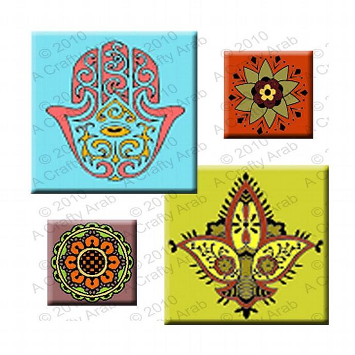 Arabesque Tiles, 1x1, 2x2 Square Tiles, Digital Collage Sheet, Download
