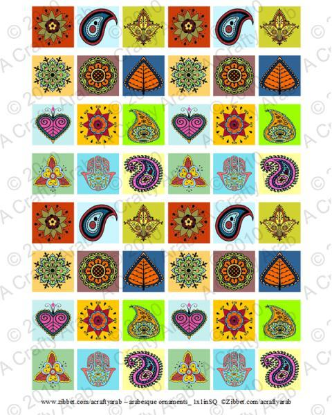 Arabesque Tiles, 1x1, 2x2 Square Tiles, Digital Collage Sheet, Download