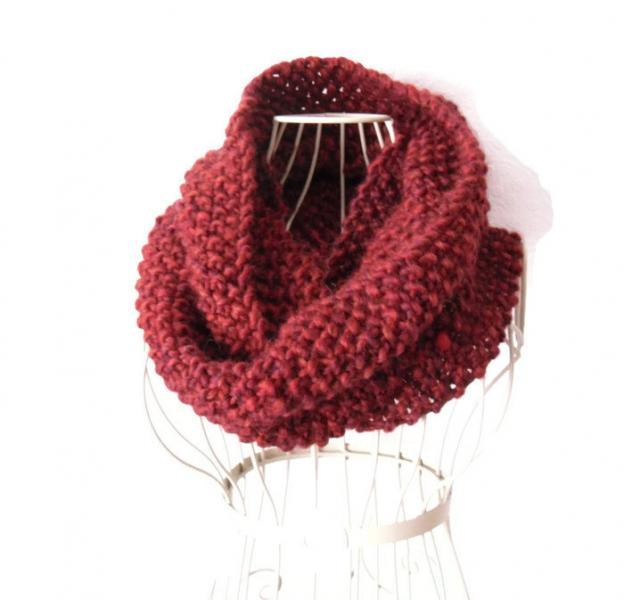 Chunky Red Snood - hand knit winter cowl  - infinity scarf in moss stitch -