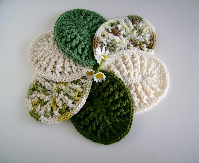Ombre Greens Custom Crochet Soap Dish, Soap Mat Set of Three