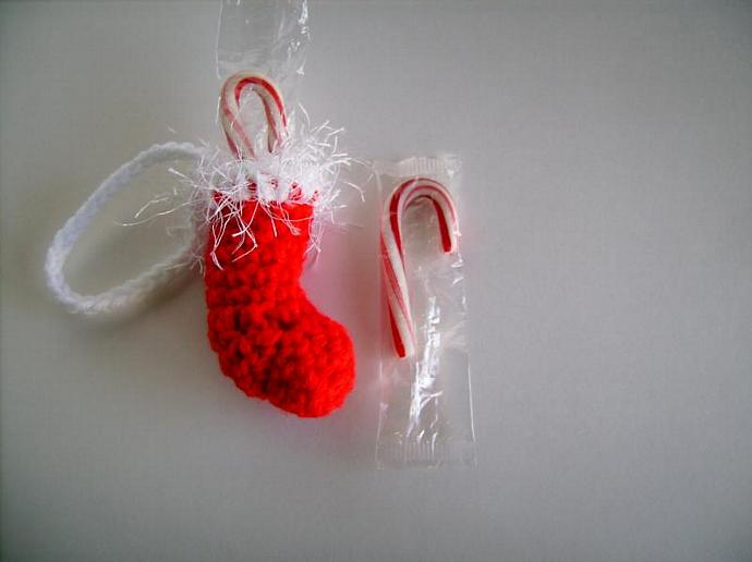 3 Christmas Stocking Ornaments Crocheted for Holiday Decoration, Package