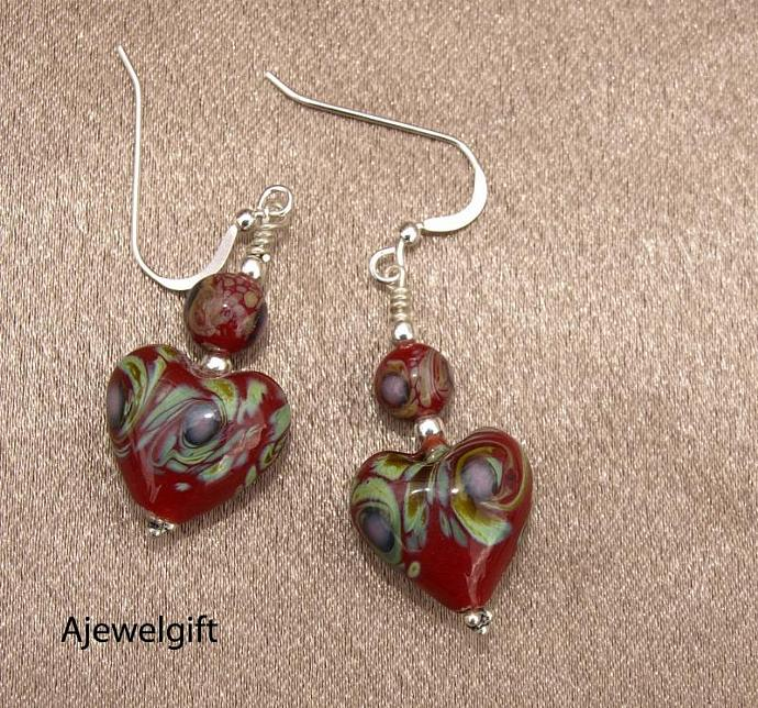 Cranberry Heart Glass Dangle Earrings  10016