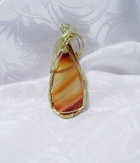 Wire-Wrapped Carnelian Teardrop Gemstone Pendant