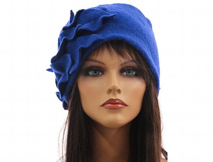 f66bce7649a Handmade artsy winter hat   cap for women   soft boiled wool in cobalt blue  ...