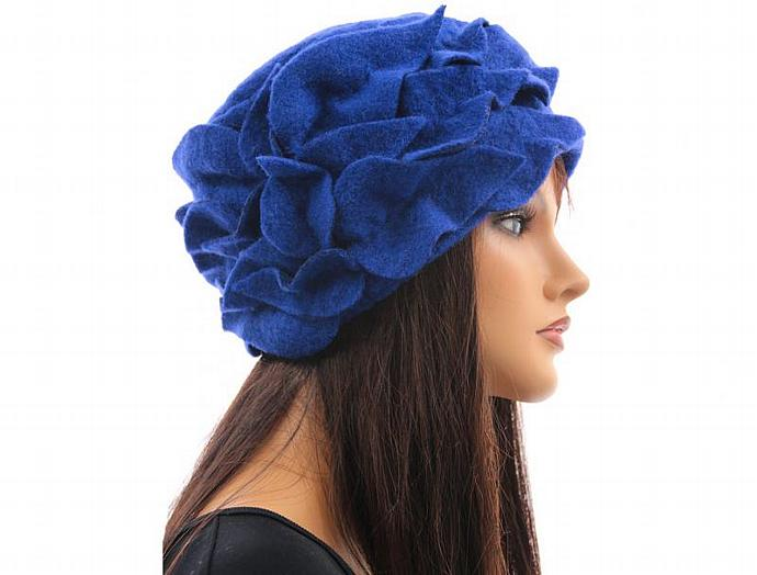 d804ce77b87 ... Handmade artsy winter hat   cap for women   soft boiled wool in cobalt  blue