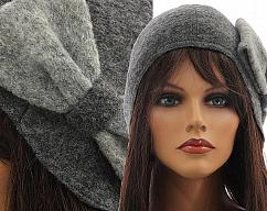 7c579e10061 Handmade artsy winter hat   cap for women   soft boiled wool in grey   with  a bow   M unstretched - up to L XL stretched
