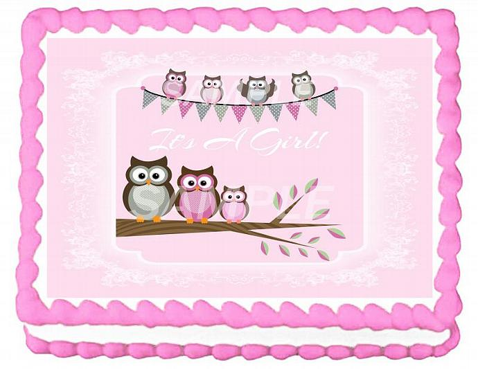 It's A Girl Owls Baby Shower Cake Topper