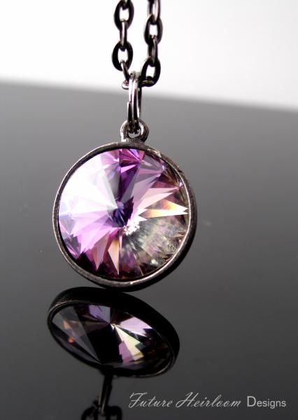 Vitrail Light Crystal Gunmetal Pendant Necklace