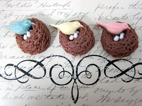 3 pcs Bird Nest Cameo Set - Pink/Cream/Blue