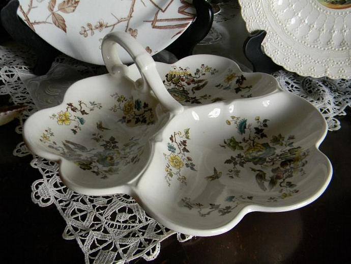 Masons Formosa 3 Section Handled Serving Dish Trefoil Tray w/ birds and Oriental