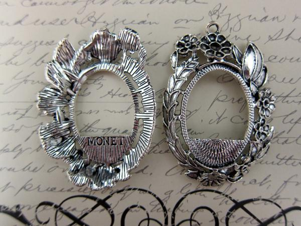 Metal Charm Pendant Setting Jewelry Necklace Findings  - 2pcs 66 mm Silver