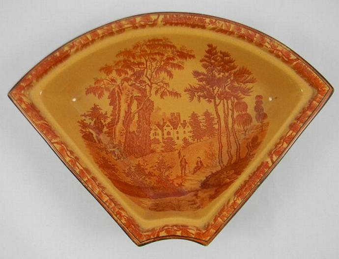 Antique Davenport Chalcedony Staffordshire China Rust Iron Red Transferware