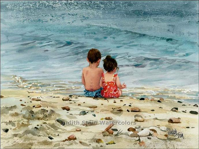 BEACH Boy Girl Children Play 15x11 Watercolor Art Print