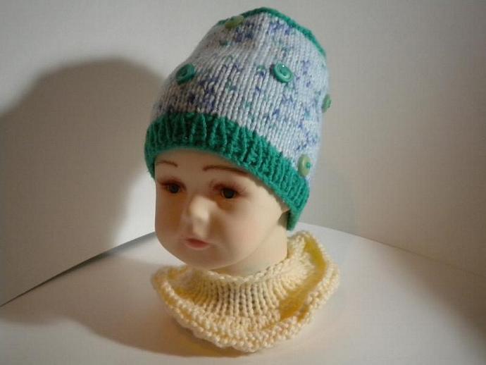 Green Button Beanie Baby Hat