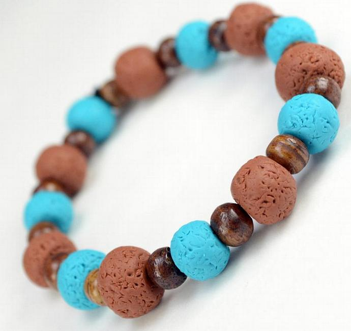 Natural Turquoise Clay Tribal Bracelet