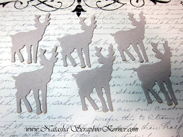6pcs Deer Chipboard Die Cuts