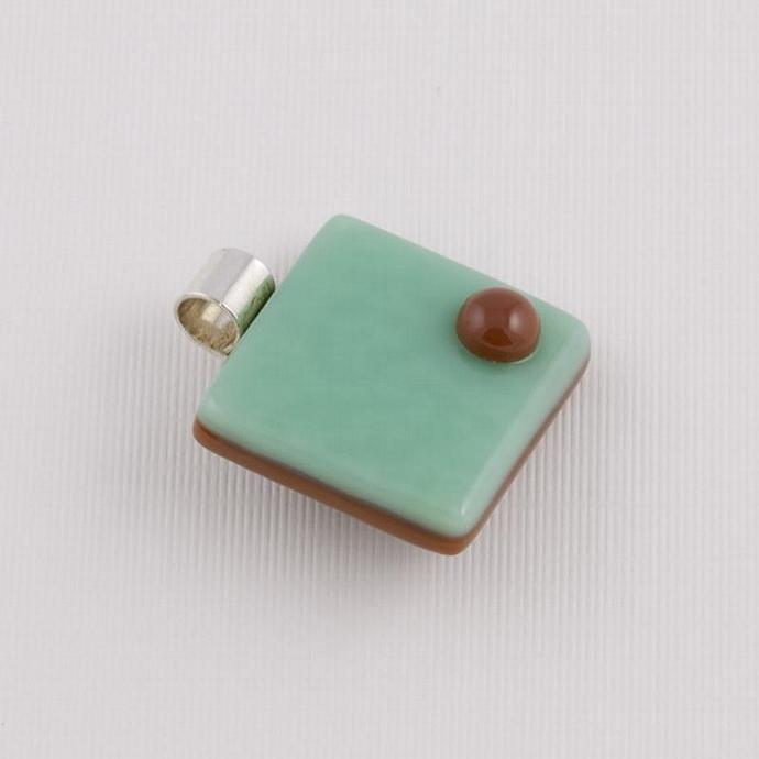 Fused Glass Cube Pendant in Chocolate Brown and Mint Green