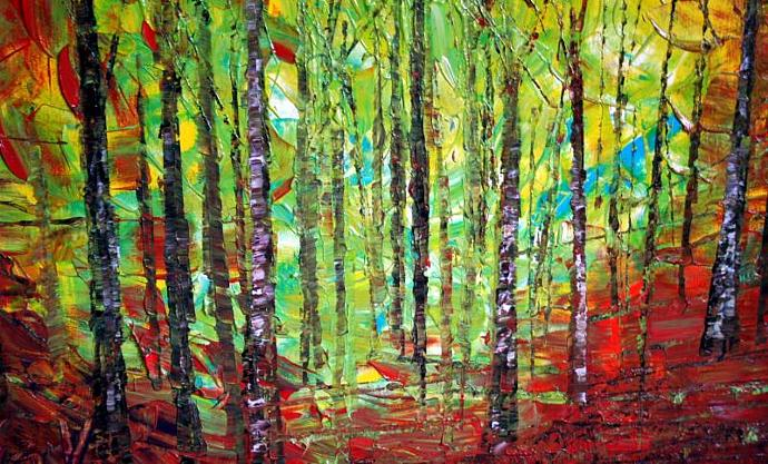 Original Modern Abstract Landscape Trees Autumn Palette Knife Impasto Painting